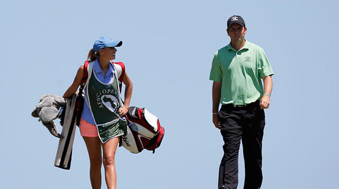 Thomas Aiken and his wife and caddie Kate Aiken during the final round of the Africa Open on Sunday.