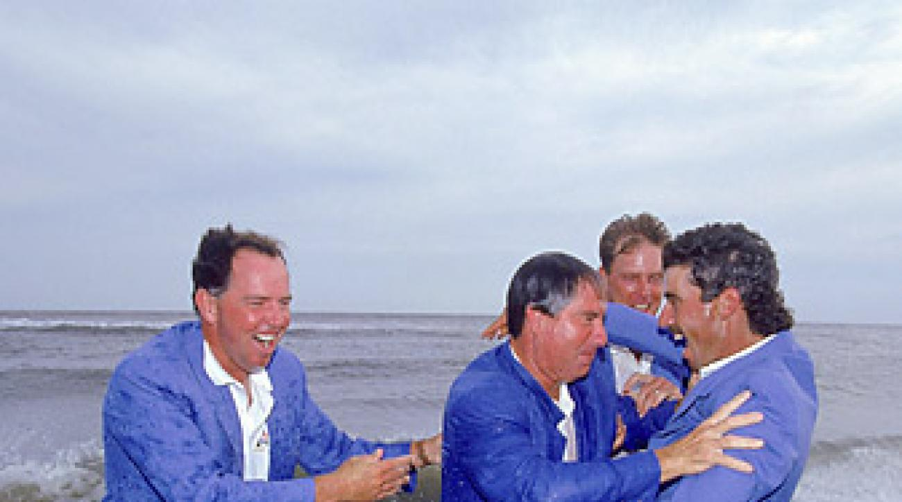Members of the U.S. team celebrated their victory at the '91 Ryder Cup with a dip in the ocean.