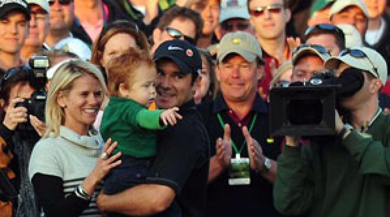After his win, Immelman celebrated with wife Carminita and son Jacob.