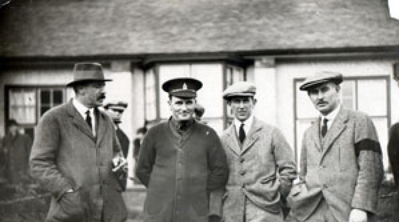 All buttoned up and ready to play in 1915 (from left): Ted Ray, Edgar, fellow pro Ivo Whitten and Vardon.