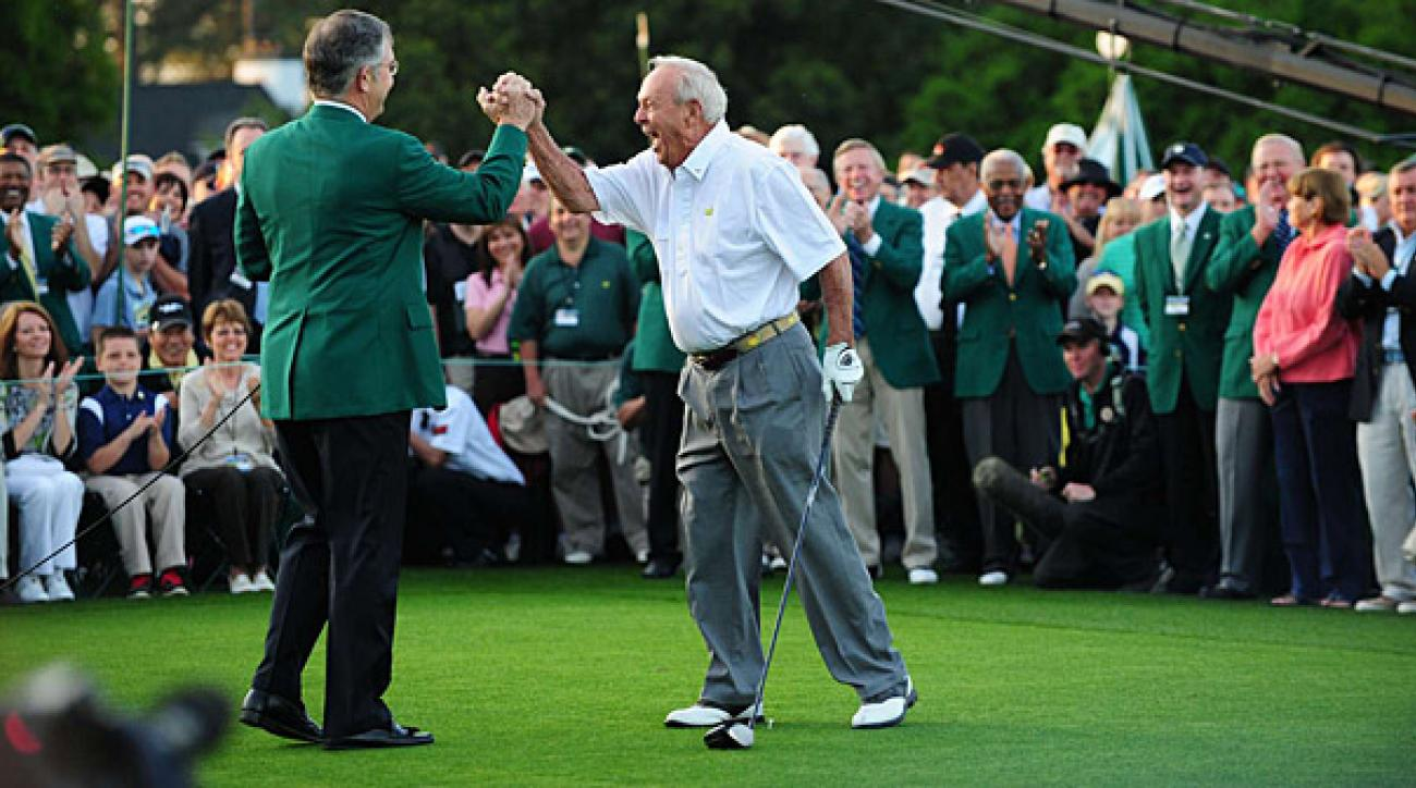 Arnold Palmer celebrated his ceremonial first tee shot with Augusta Chairman Billy Payne on Thursday morning.