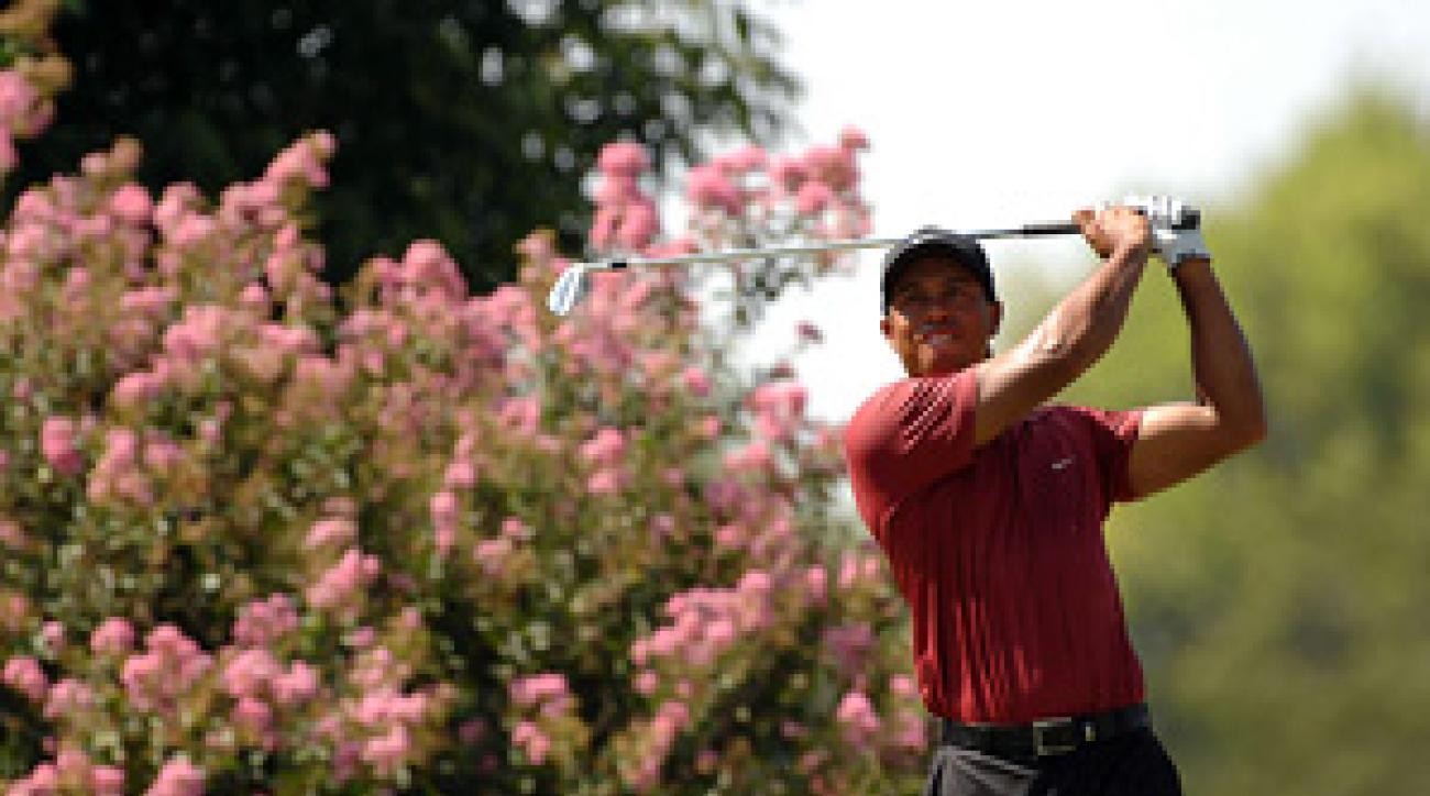 Tiger Woods made four birdies and three bogeys Sunday.