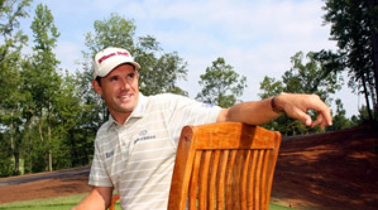 Padraig Harrington answered questions while at White Oak, a golf community in Tryon, N.C., where Harrington is building a home.