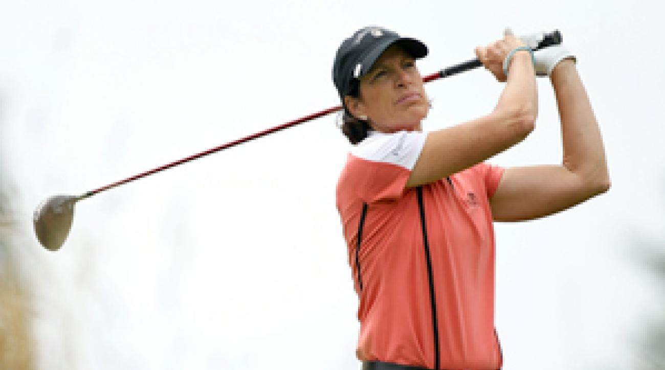 Juli Inkster was tied for second place before she was disqualified.