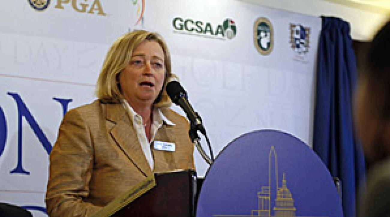 Libba Galloway, deputy commissioner of the LPGA, at a press conference in April.