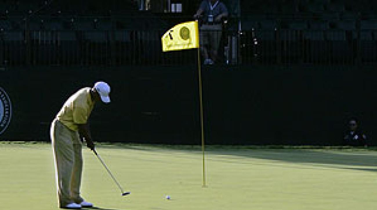 Tiger Woods played a practice round Tuesday at Southern Hills.