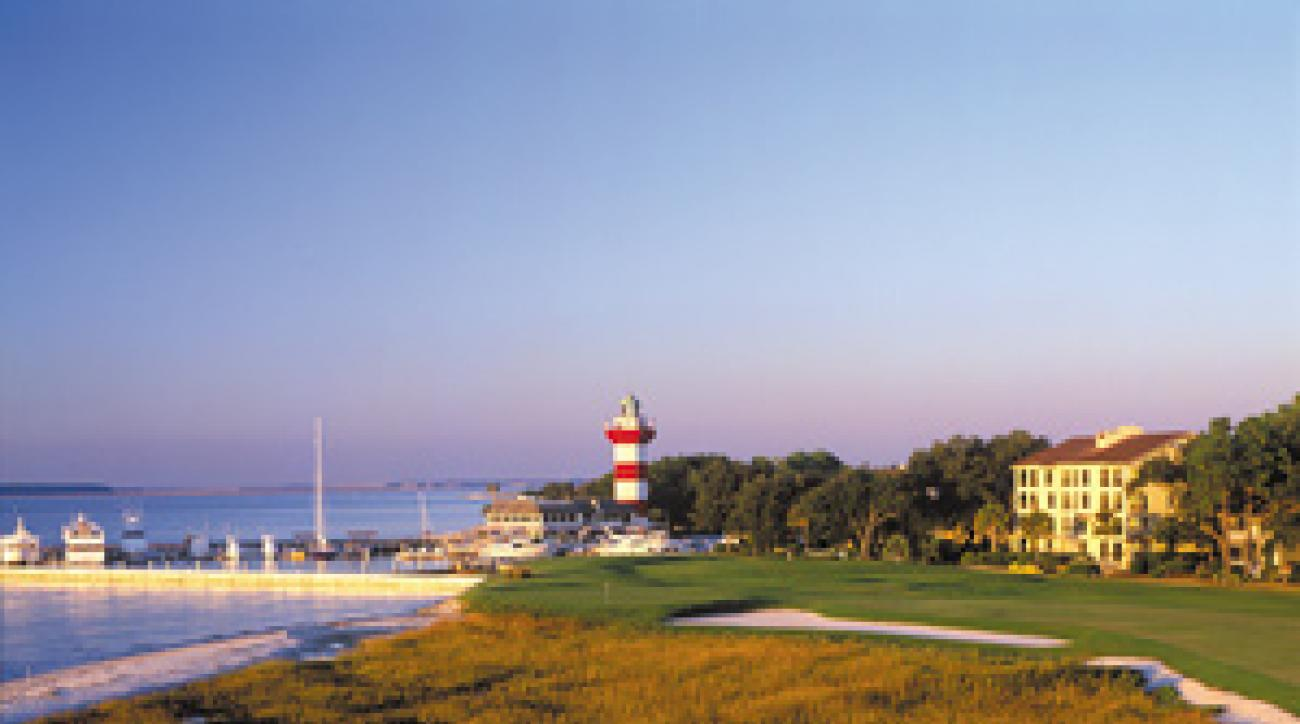 The lighthouse at Harbour Town Golf Links is a famous landmark in Hilton Head.