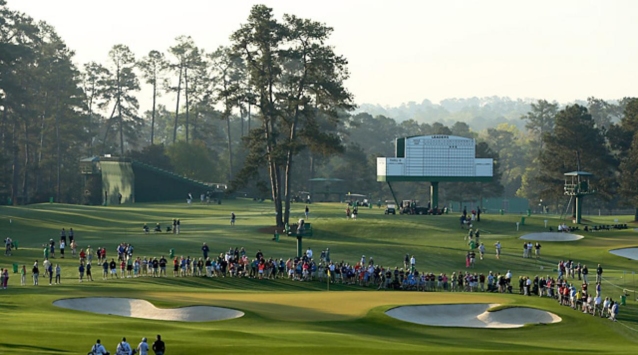 The second hole at Augusta National on Monday.