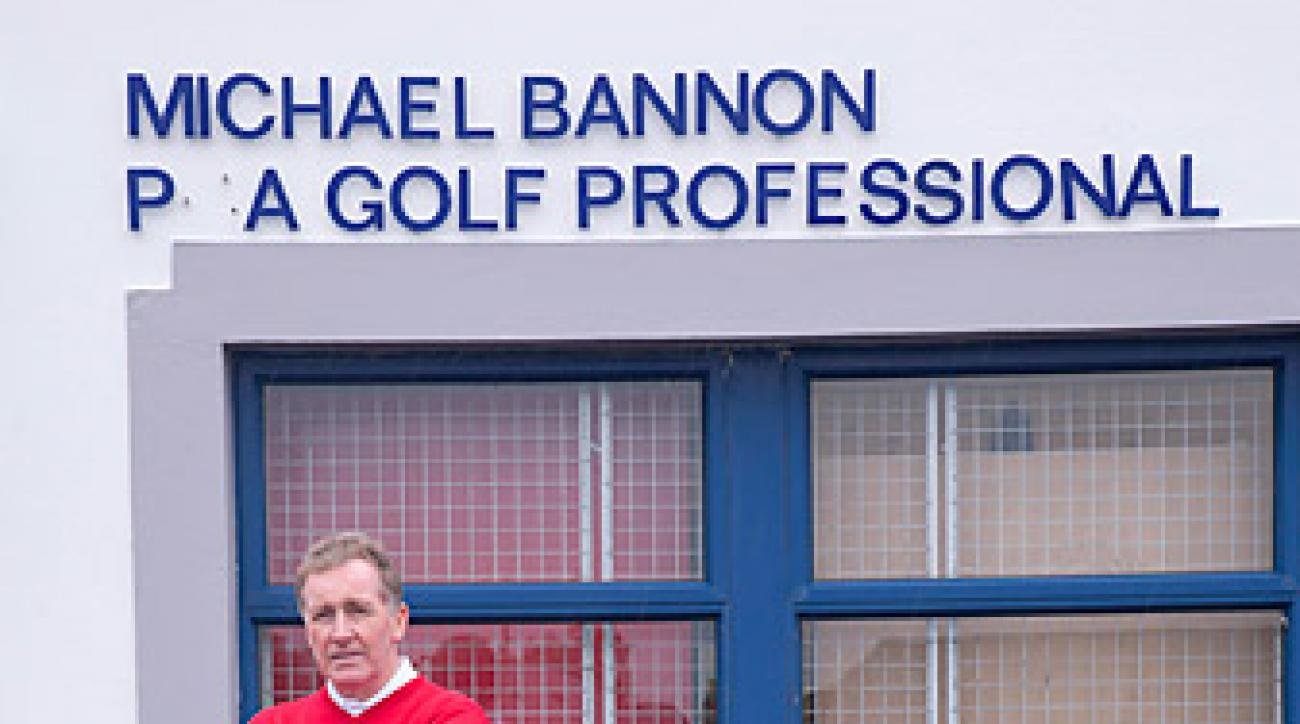 "OFFICE SPACE: Bannon outside the Bangor G.C. pro shop. (Time to order a new ""G."")"