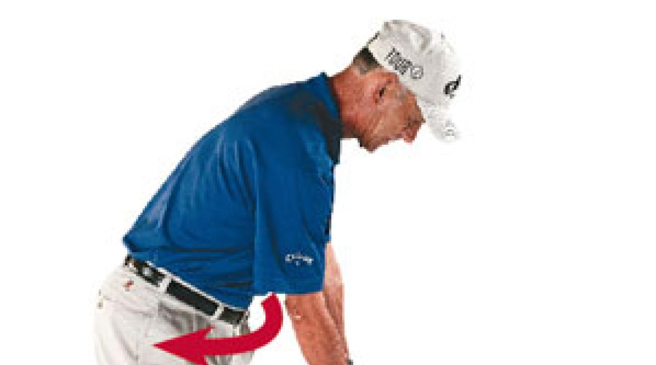 From your normal address, turn your right hip slightly behind you to jump-start an anti-slice, in-out swing.