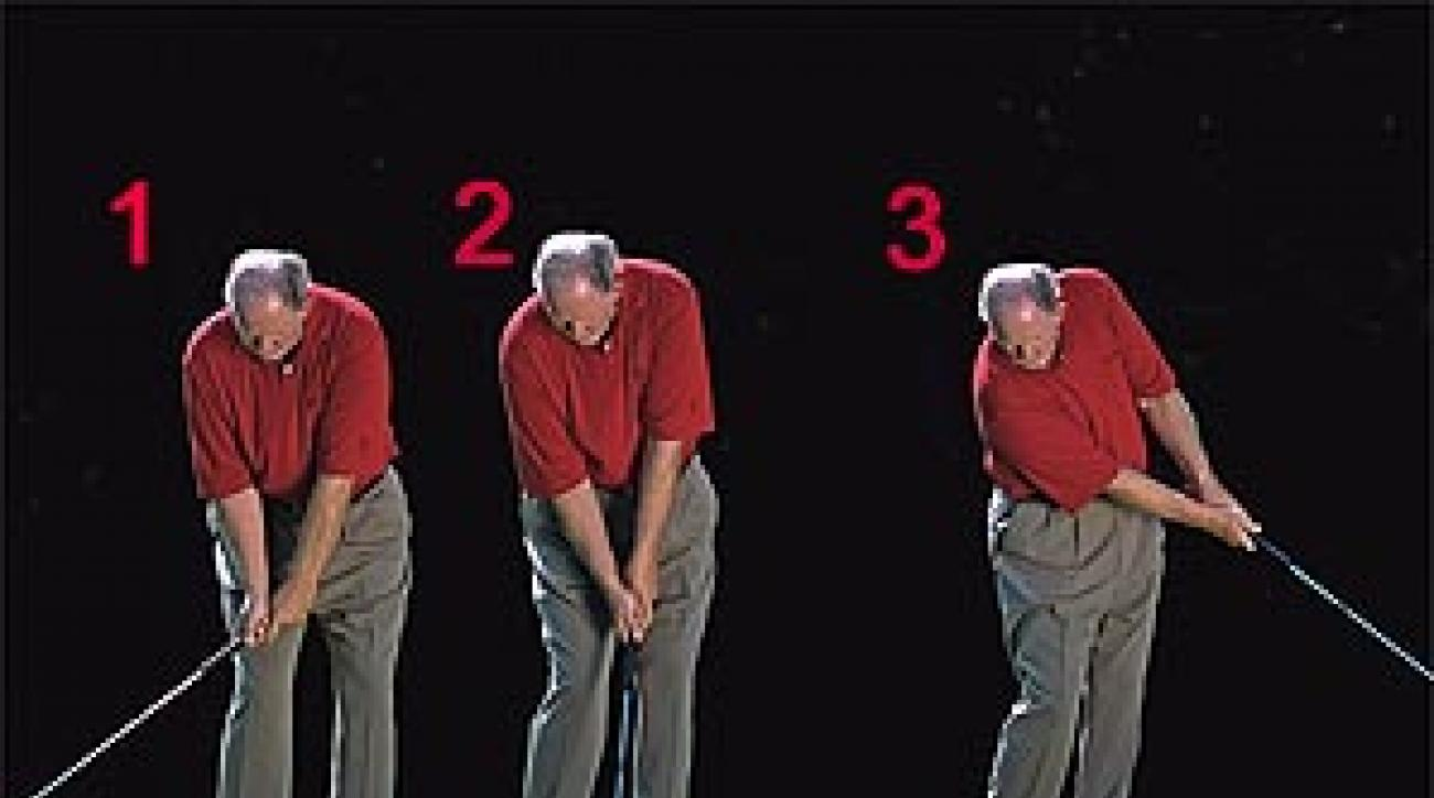 """1. A slight wrist hinge provides momentum. 3. Kick your right knee forward to shift left. <SPAN CLASS=""""picturesource"""">Leonard Kamsler</SPAN>"""