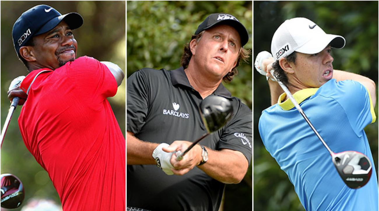 Tiger Woods and Phil Mickelson will look for continued success in 2014, while Rory McIlroy will try to put a dismal 2013 behind him.