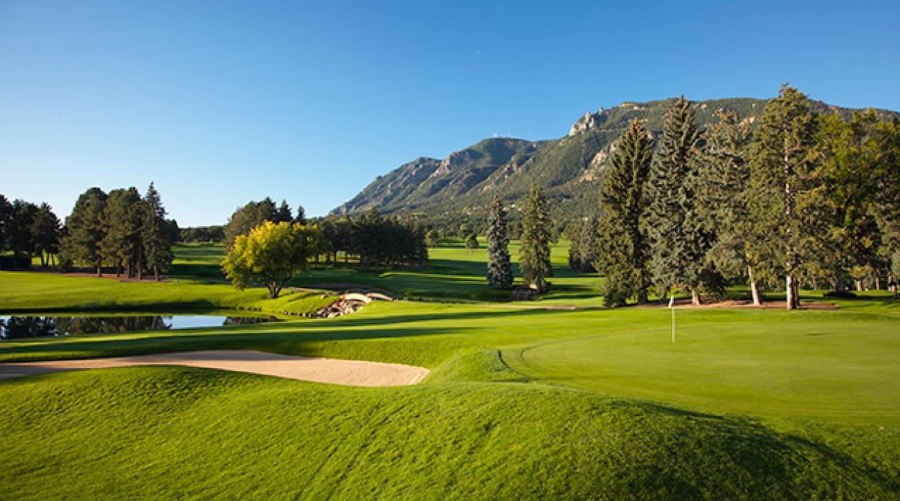 The par-4 18th (East Course) at The Broadmoor, this year's top-ranked resort.