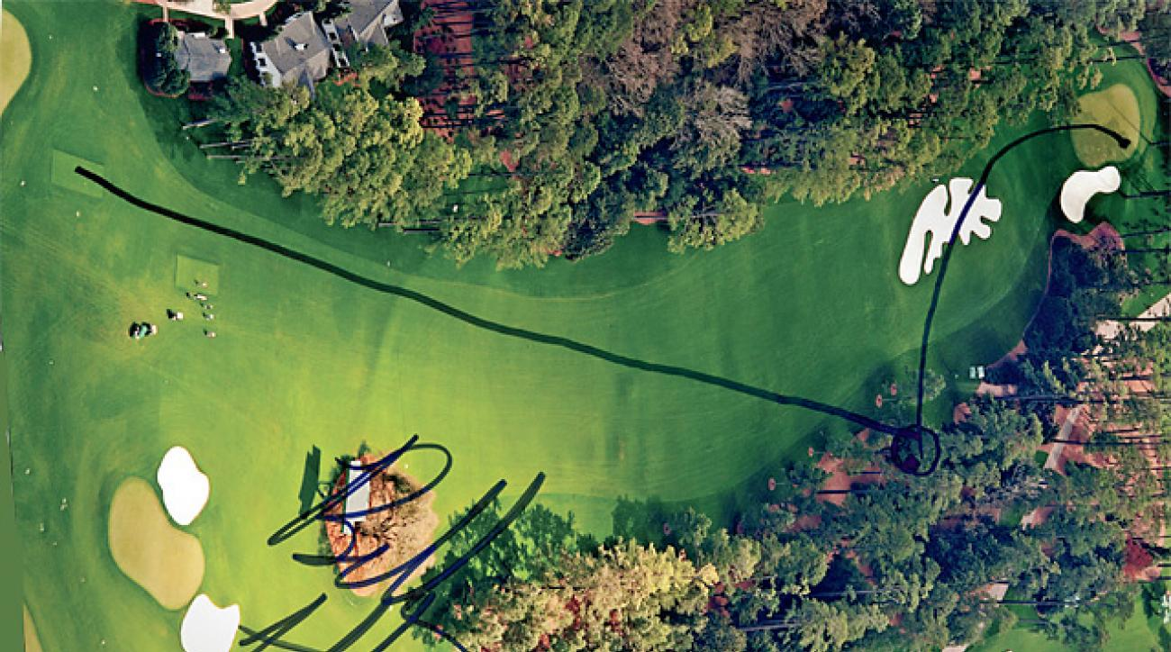 Bubba Watson took a sharpie to this overhead photo of Augusta's 10th hole to draw the flight path of his drive and infamous hook shot in the playoff at the 2012 Masters.