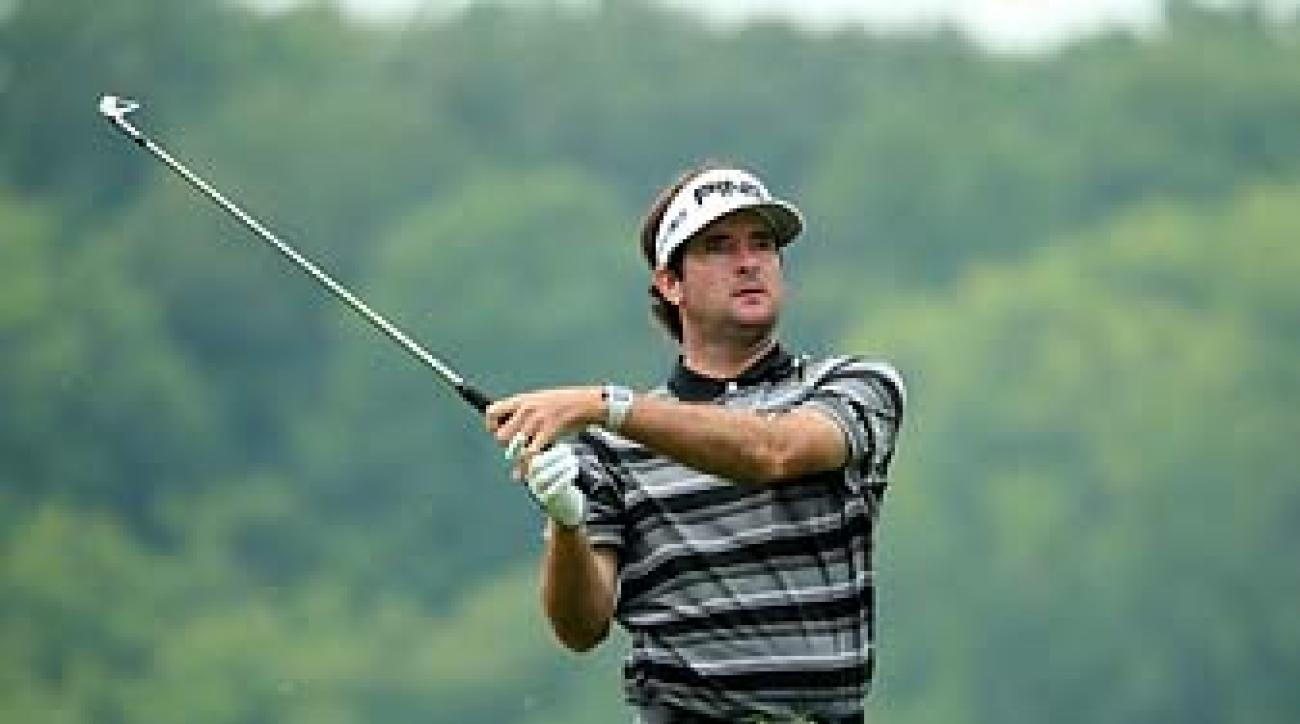 Bubba Watson hits his tee shot on the 8th hole of the PGA Championship on Friday.