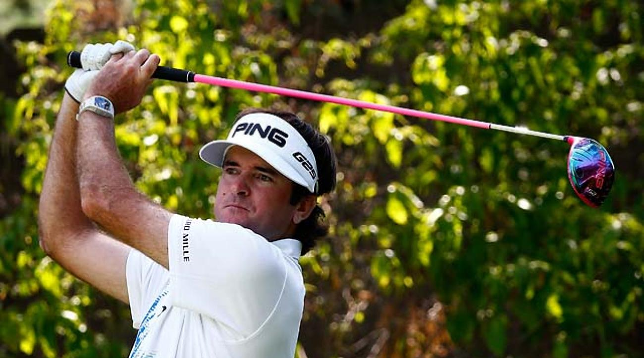 Bubba Watson plays a shot on the 13th hole during the third round of the Memorial Tournament. Watson shot 69 to take a one-shot lead.