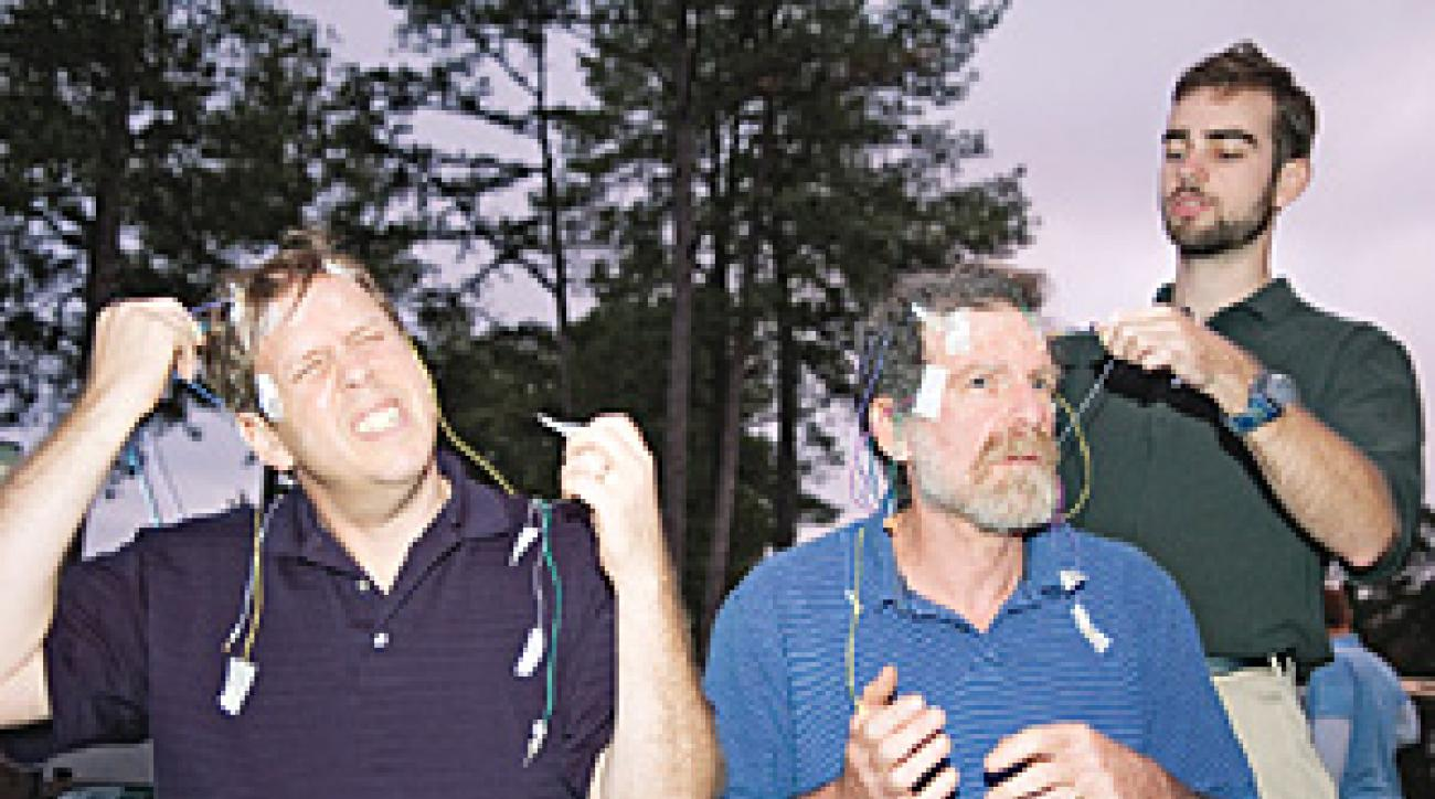 Leibel, left, and Herman suit up. (Note: No golfers were harmed during this experiment.)