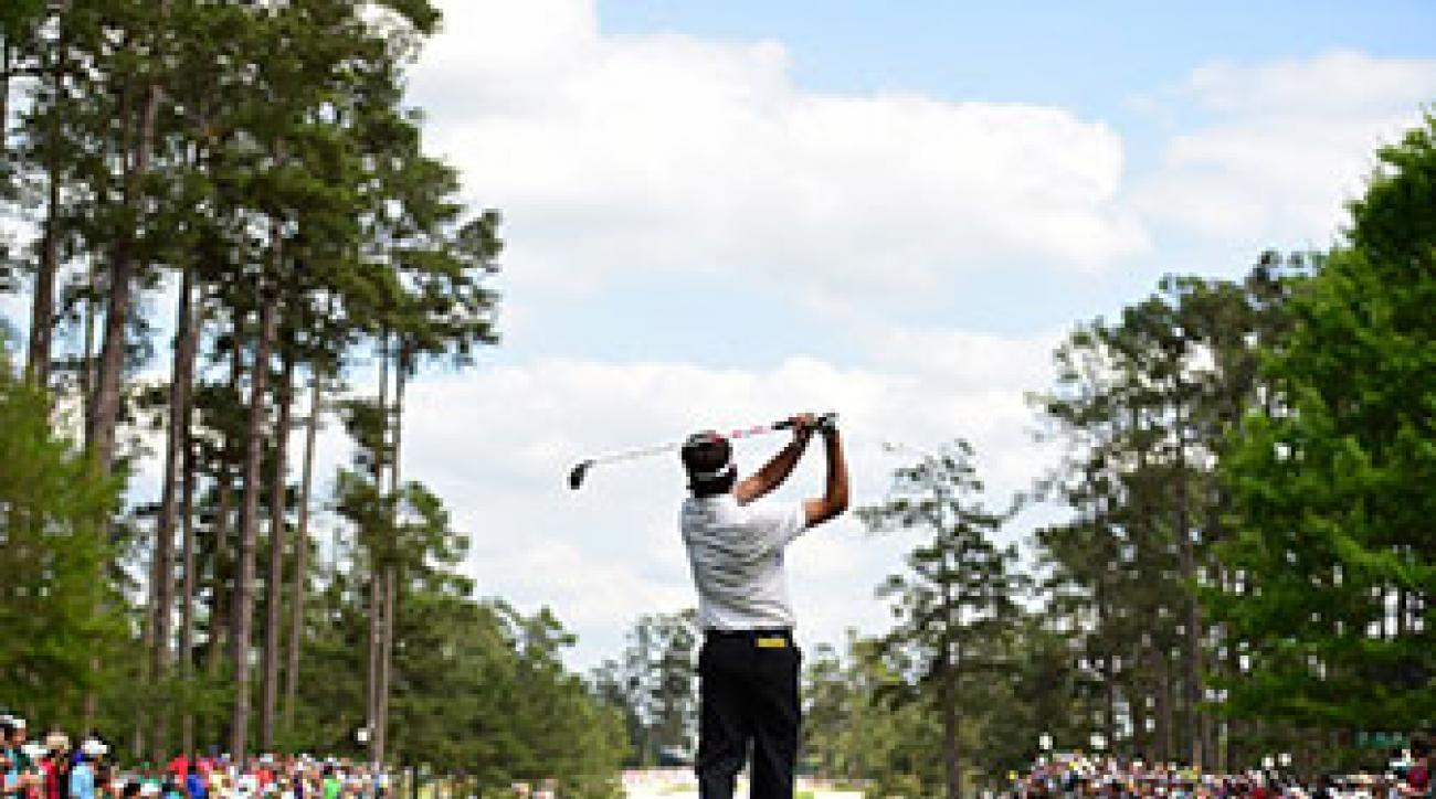 Bubba Watson tees off on No. 7.