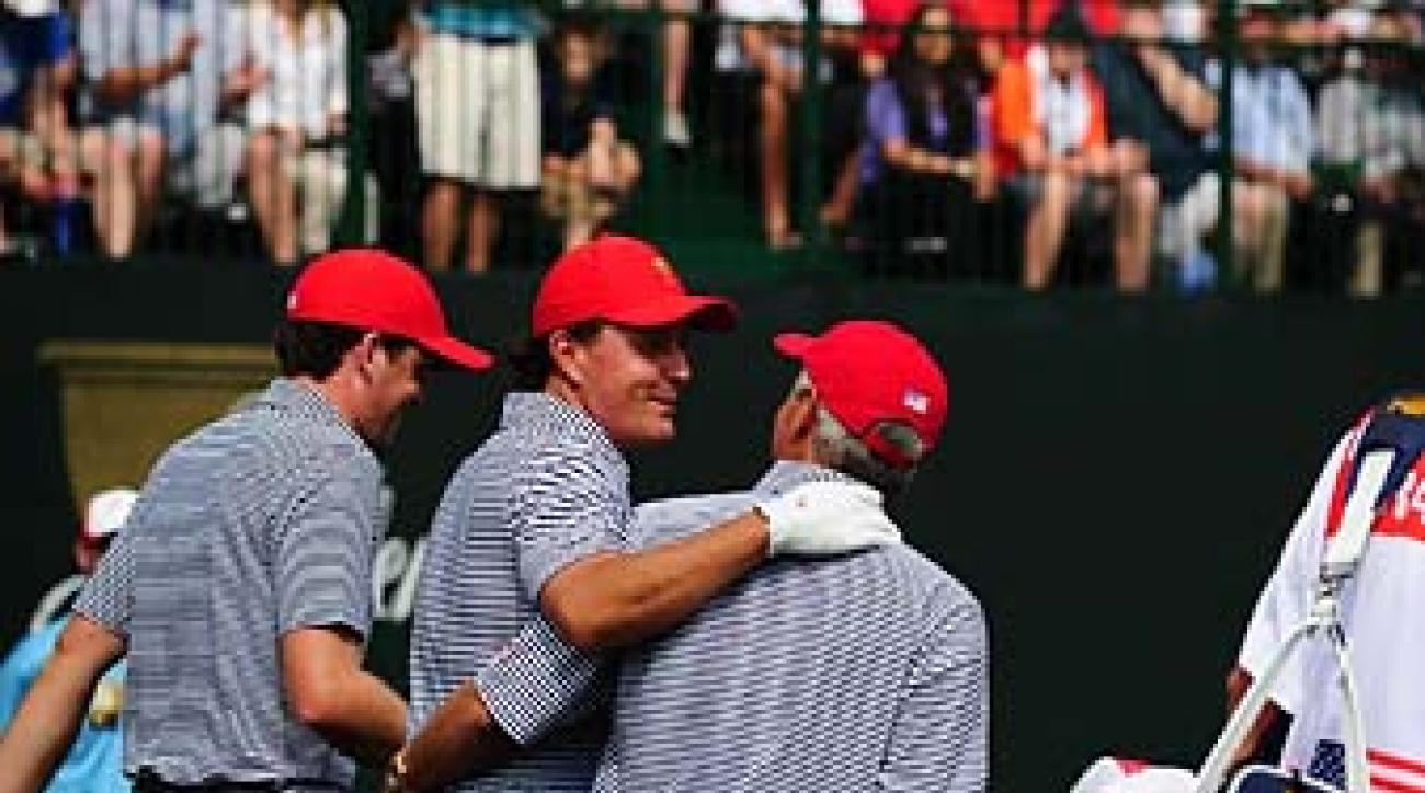 Keegan Bradley, Phil Mickelson and Fred Couples during foursome matches at the 2013 Presidents Cup.