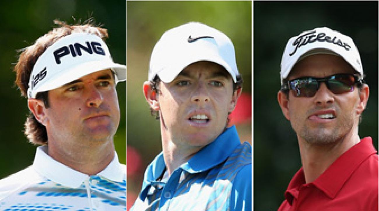 Bubba Watson, Rory McIlroy and Adam Scott.
