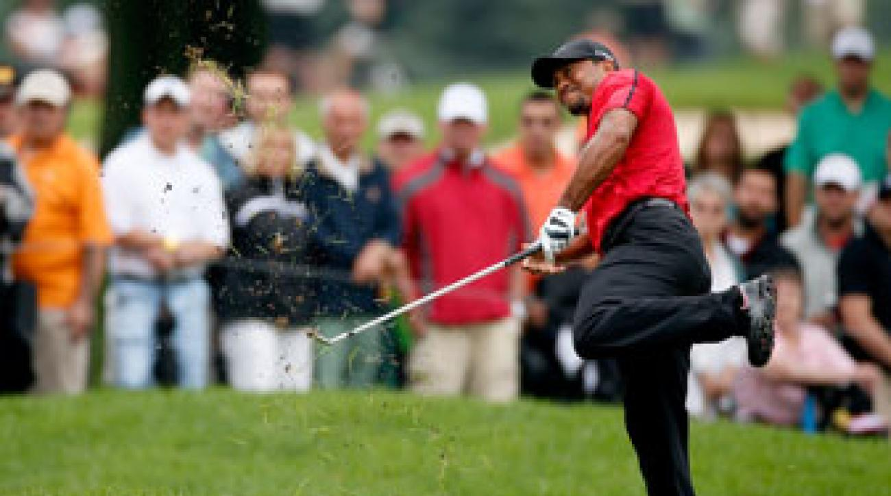 Tiger Woods withdrew from the WGC-Bridgestone Invitational eight holes into Sunday's final round.