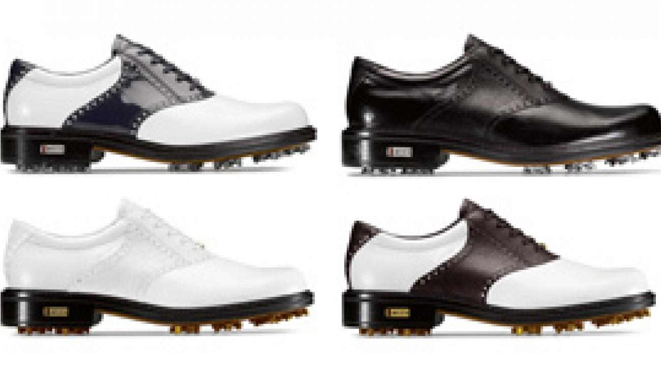 The ECCO World Class line includes saddle shoes in brown and white or black patent and white; solid leathers with perforated saddles; and available reptile print details.