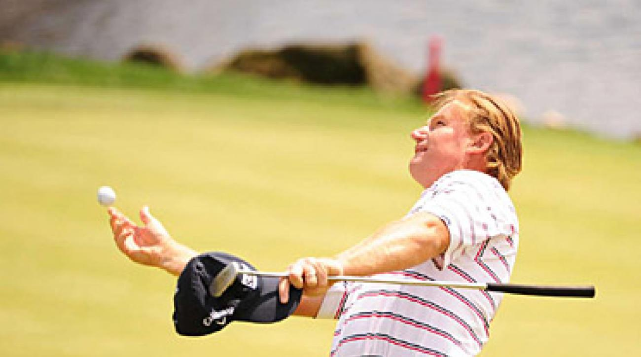 Ernie Els after sealing his win on 18.