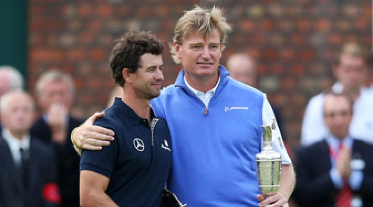 Ernie Els, right, won the British Open last year after Adam Scott bogeyed the last four holes.