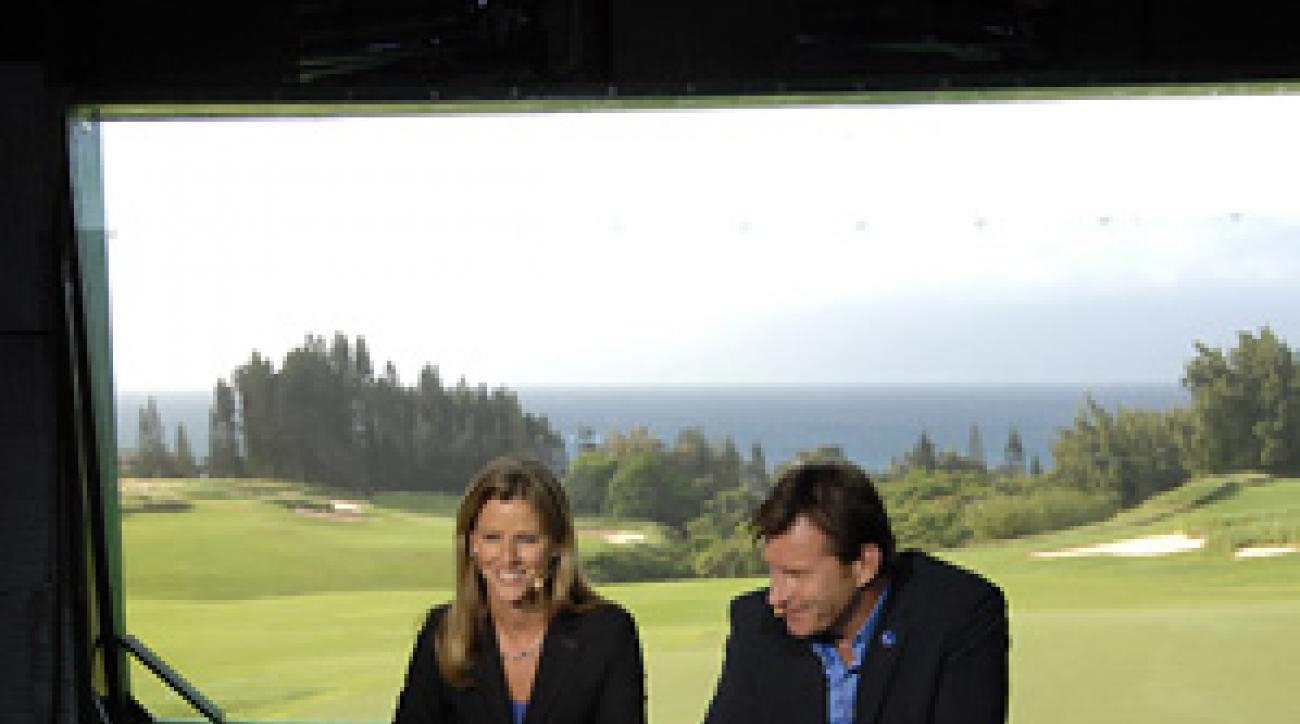 Nick Faldo chats with Kelly Tilghman and on CBS.