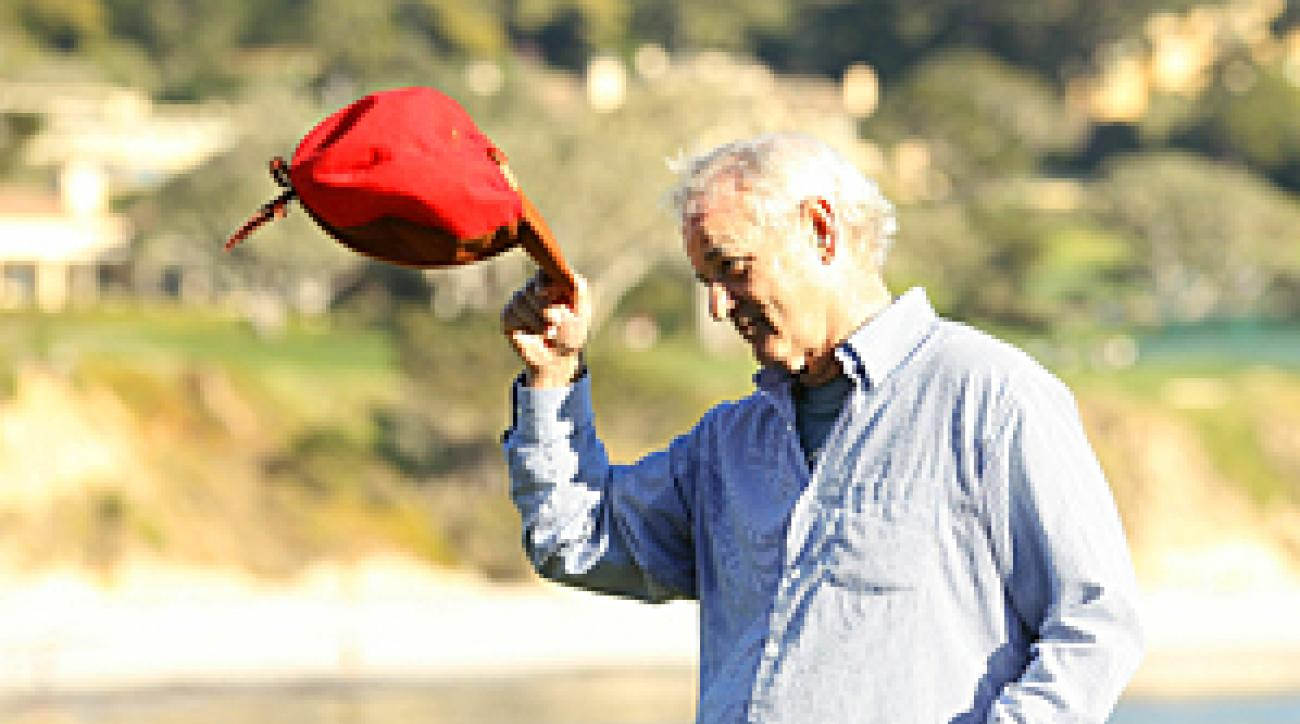 """Bill Murray is """"in the hunt"""" for the pro-am title, so he brought out an Elmer Fudd hat on Saturday."""