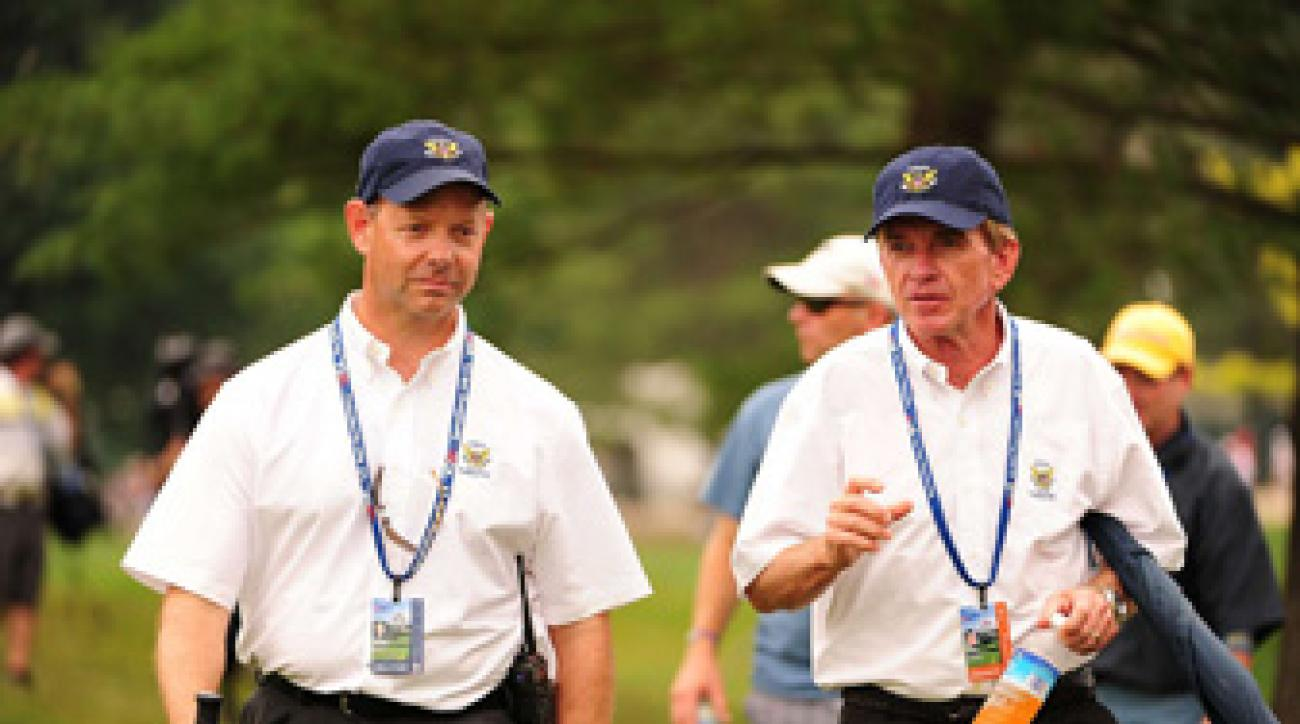 Mike Davis, executive director of the USGA, and Tim Finchem, commissioner of the PGA Tour, at the 2011 U.S. Open.