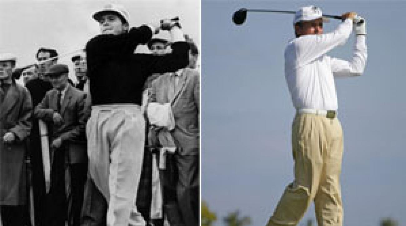 Gary Player in 1959 (left) and today (right).