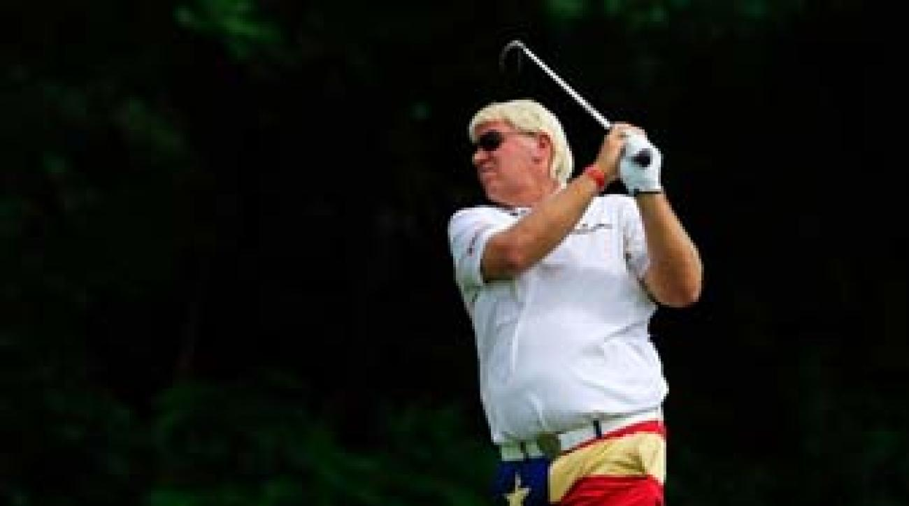 John Daly in the first round of the Greenbrier Classic. Daly withdrew from the tournament on Friday and later tweeted that he would have surgery on his elbow next week and would be out for three to four months.