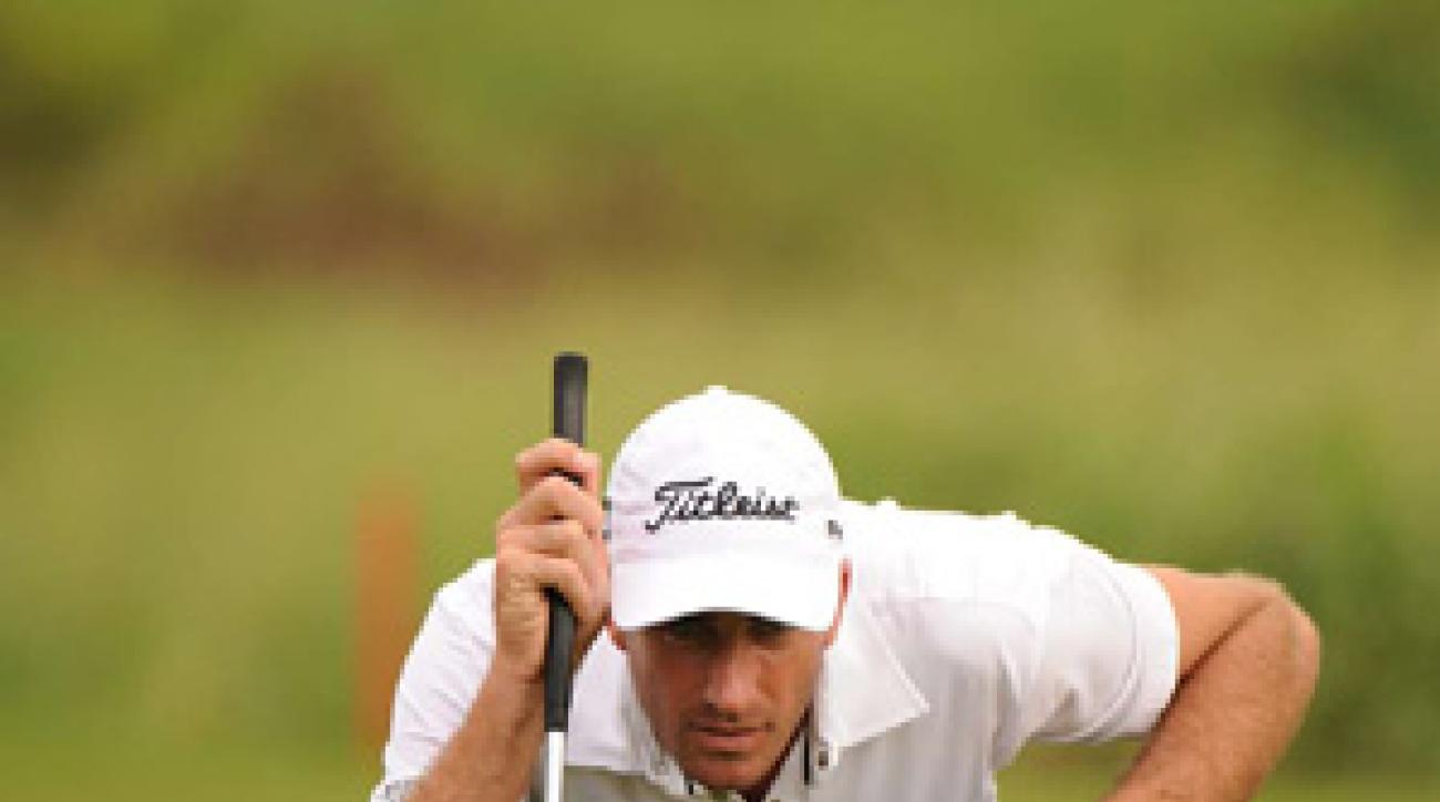 Geoff Ogilvy was displaying his new sponsors at Kapalua on Thursday.