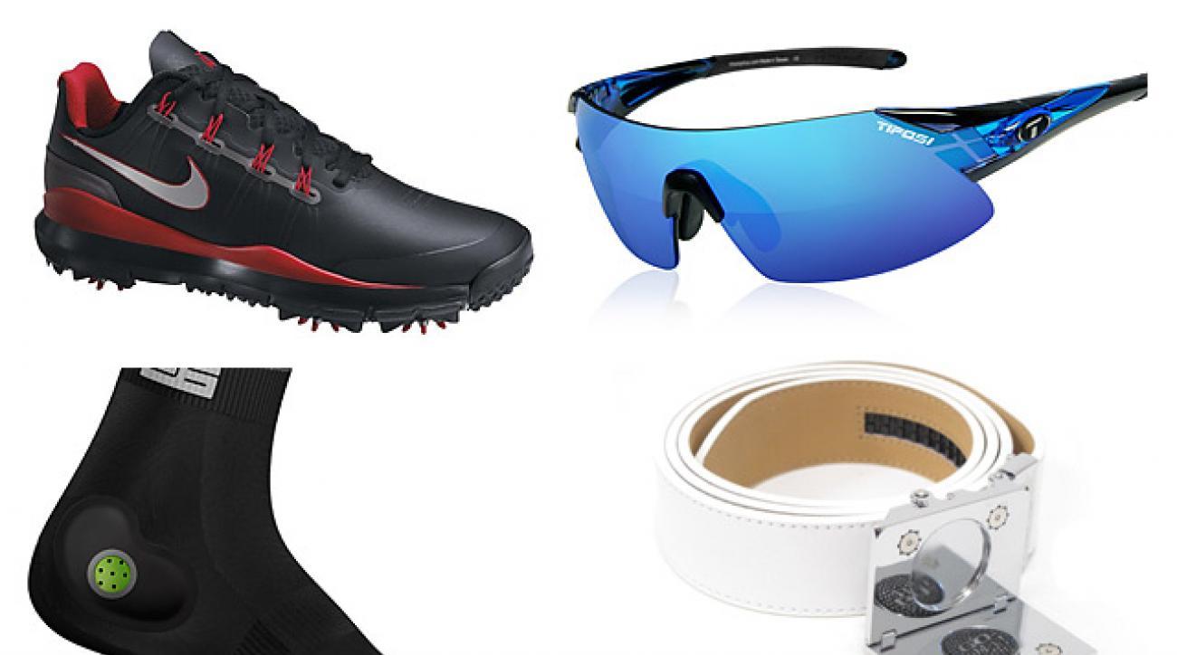Clockwise from left: Nike TW '14 Shoes; Tifosi Podium XC glasses; Stable 26 Footgear; Nexbelt Go In! Series belt