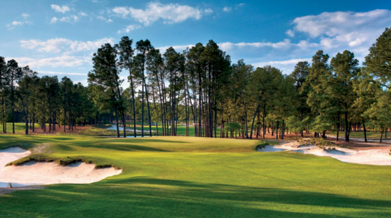 Pinehurst's collection areas and severe greens (the 15th shown) will be the ultimate test of the players' short games