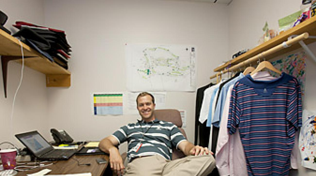 CHANGING ROOM: During tournament week, Grube's office doubles as his closet
