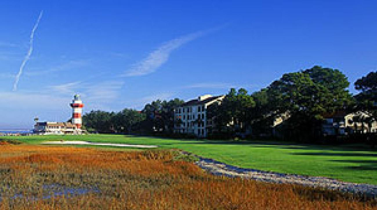 The 18th hole at Harbour Town Golf Links, on Calibogue Sound.