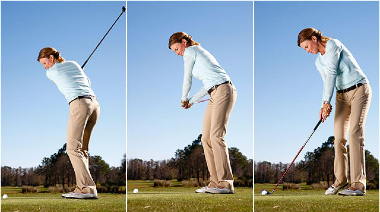 Golf Magazine Top 100 Teacher Kellie Stenzel demonstrates how to drop your left arm against your chest at the start of your downswing and keep it there all the way down to create synced-up power at impact.