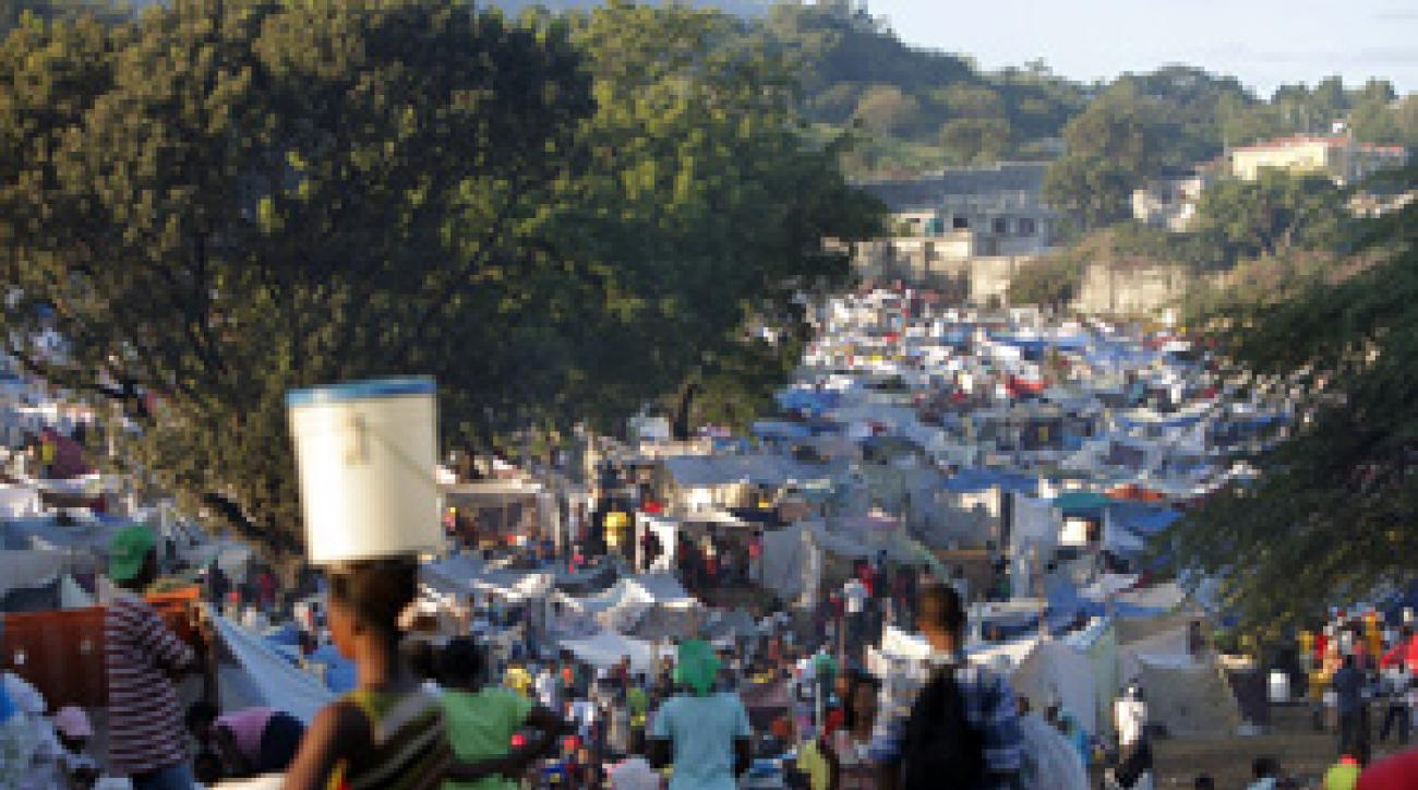 Petionville Club, Haiti's only golf course, is now a refugee camp after last week's earthquake.