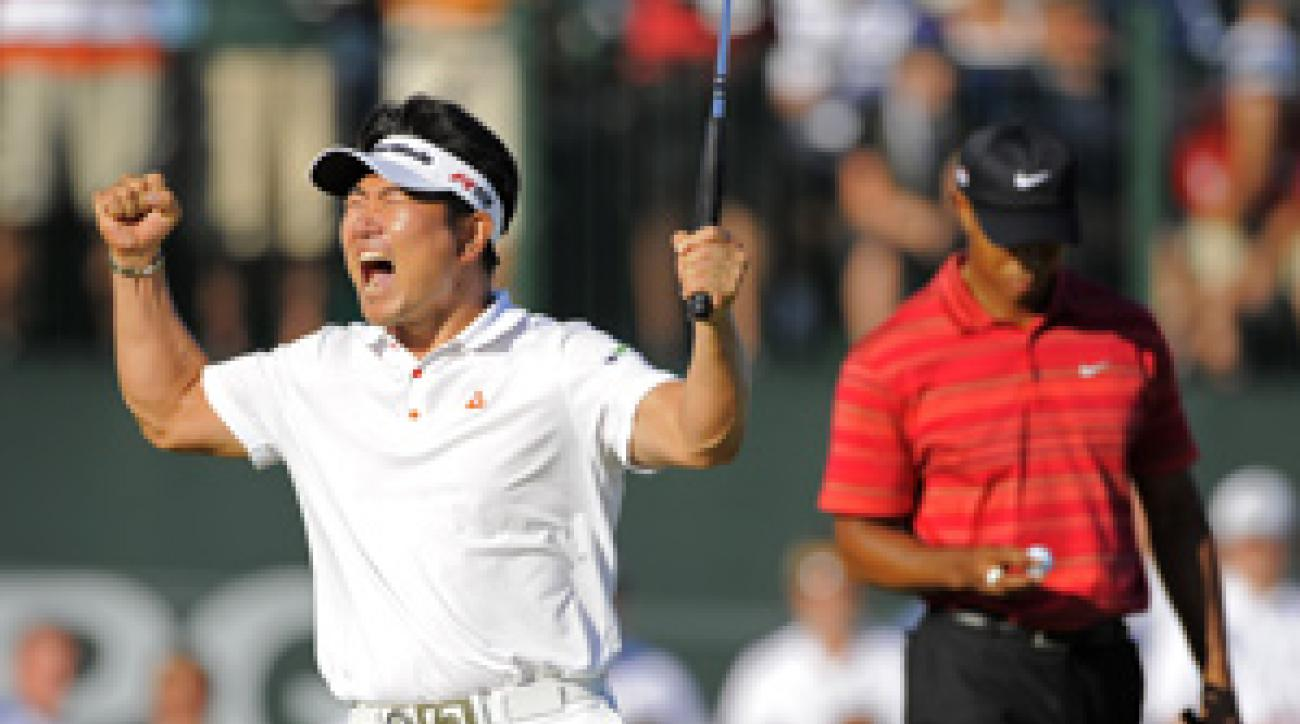 Y.E. Yang not only beat Tiger Woods at Hazeltine, but he also became the first Asian-born player to win a major.