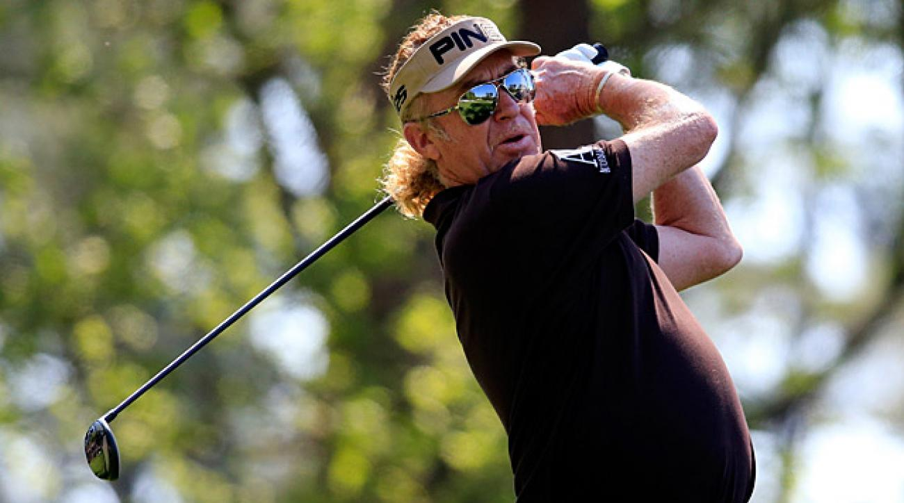 Miguel Angel Jimenez shot a tournament-record 65 on Friday.