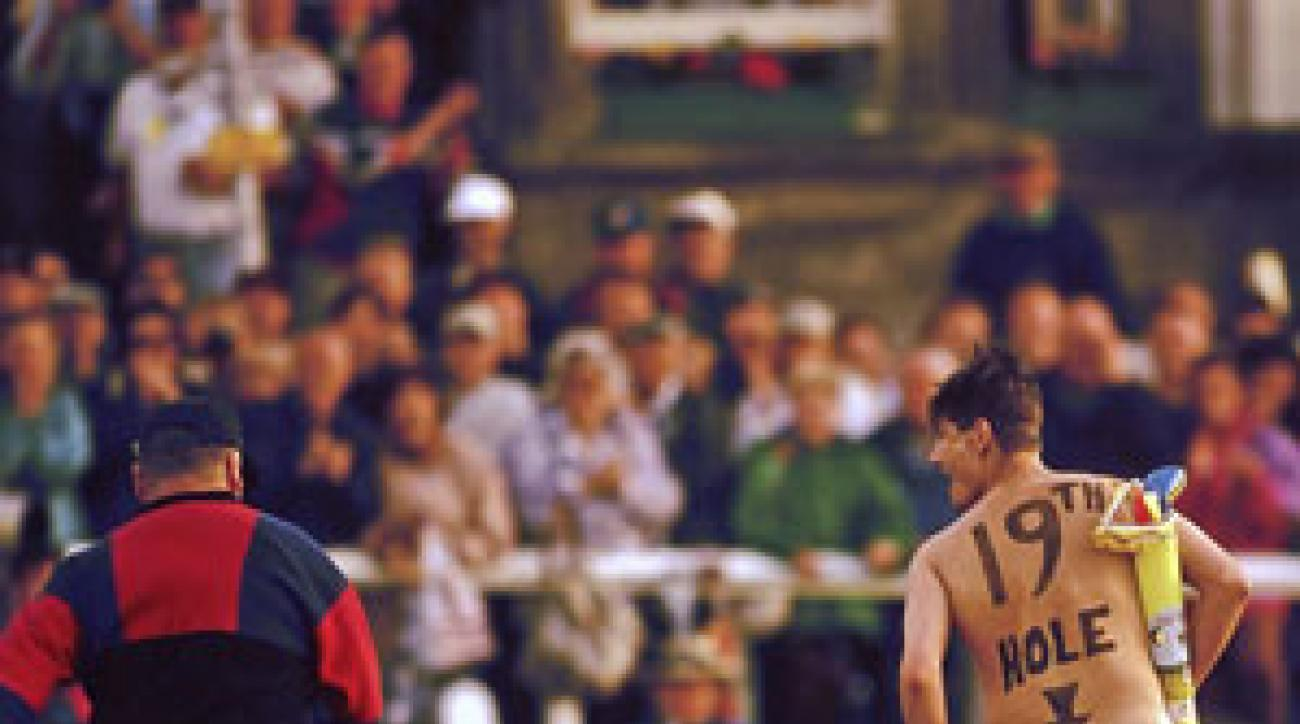 The cheek of it! Roberts makes his pro golf debut at the 1995 British Open at St.Andrews.