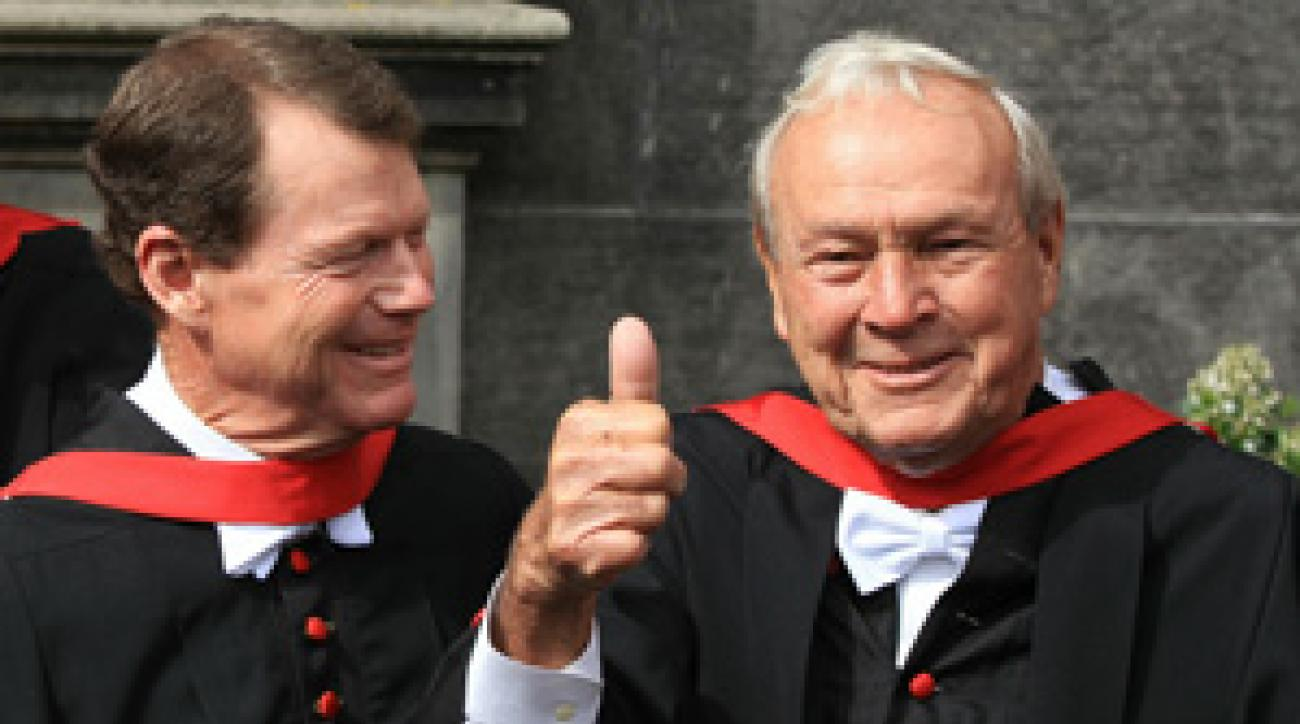 Arnold Palmer, right, and Tom Watson received honorary degrees from the University of St. Andrews on Tuesday.