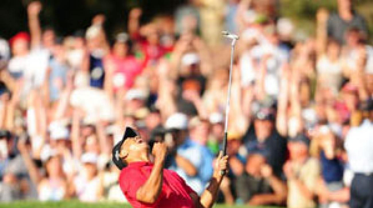 Woods made a 12-foot putt on 18 to force a playoff.