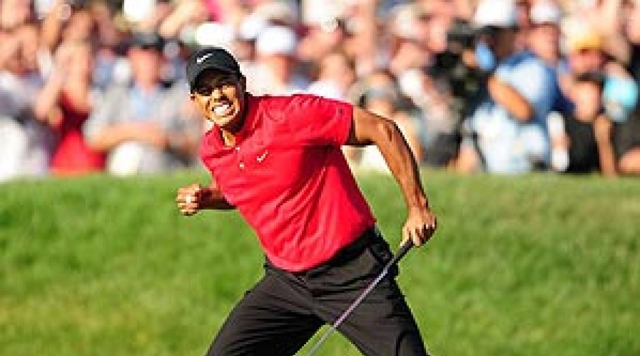 Woods sunk a birdie putt on the final hole to force a playoff on Sunday.