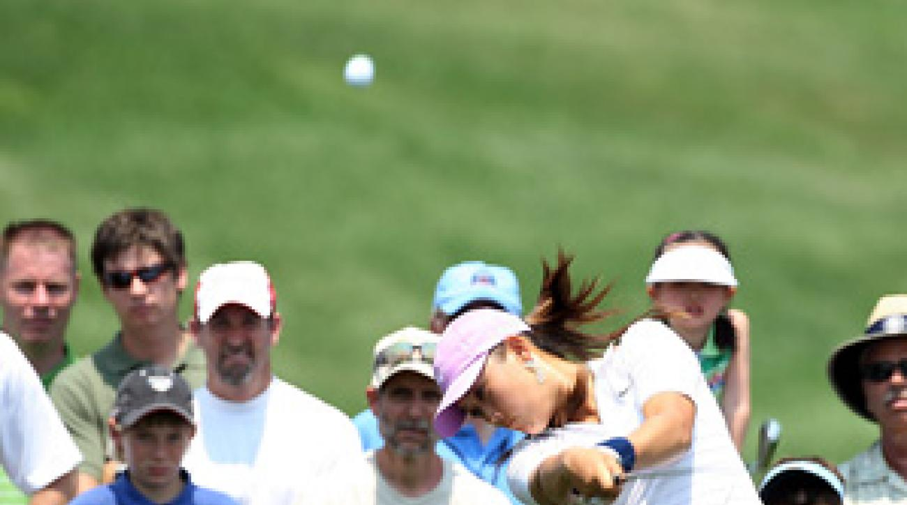 Michelle Wie bogeyed 18 to shoot 74.