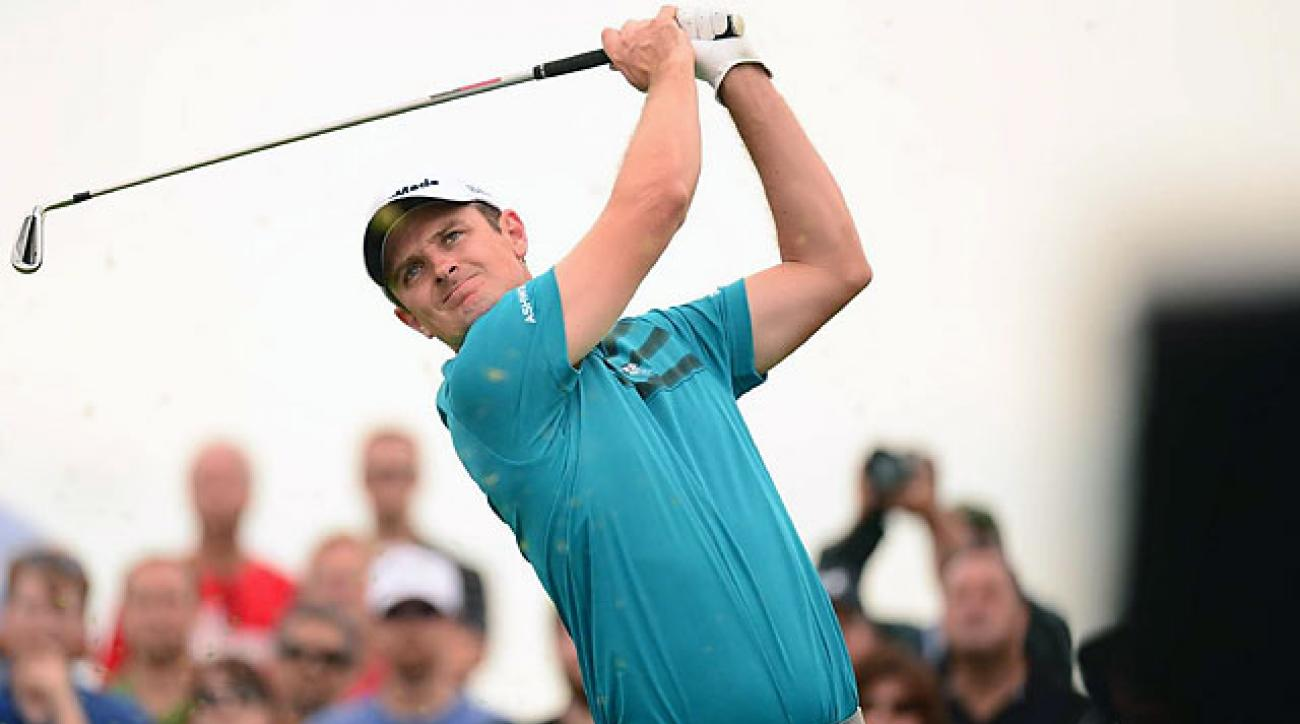 Justin Rose follows the flight of his shot during the second round of the Barclays in August.