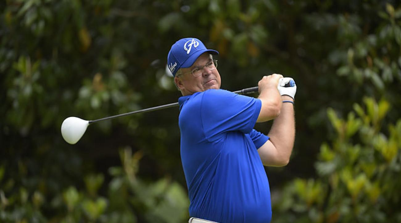 Kenny Perry hits a drive on the third hole during the final round of the Regions Tradition at Shoal Creek on Sunday.