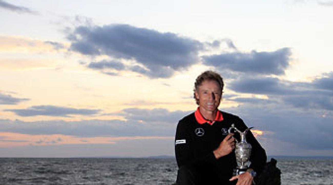 Bernhard Langer poses with the trophy after the final round of the Senior Open Championship played at Royal Porthcawl Golf Club in Wales.